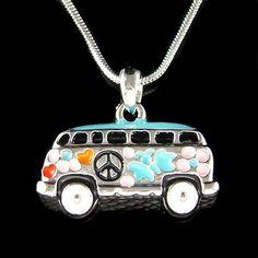 Volkswagen VW Hippie Bus enamel Peace Sign Van Vanagon Car Pendant Necklace New #Pendant