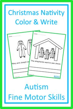 Download these Christmas Nativity Color & Write pages today for Autism Fine Motor Skills from Curriculum For Autism