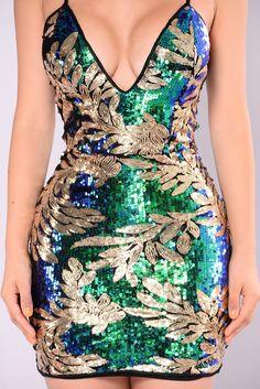 Work Your Body Sequin Dress - Jade Multi