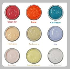 Conditioning creams for your footwear. Spring & Summer colours. Orleander, Coral, Caribbean, Flamingo, Cashmere, Sky, Bonbon, Lemon Cream & Lilac Blossom. #shoecare #shoecream