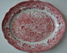 Red Transferware Platter Travelers Horses Children Roses English China