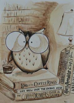 Coffee Owl Print - Book Nerd by DrivewayOriginals on Etsy https://www.etsy.com/listing/260543841/coffee-owl-print-book-nerd