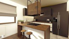 kuchnia industrialna - Średnia otwarta kuchnia w kształcie litery u w aneksie, styl industrialny - zdjęcie od ajaje - architekci & projektanci wnętrz