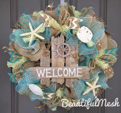 Welcome Beach Burlap Deco Mesh Wreath with Seashells, Seashell Wreath, Beach Wreath, Starfish Wreath