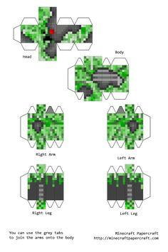 Papercraft Creeper Cyborg