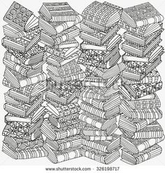 Pattern for coloring book. Artistic books, bookshelf, hand-drawn decorative elements in vector. Black and white pattern. Made by trace from sketch. Adult Coloring Book Pages, Printable Coloring Pages, Colouring Pages, Free Coloring, Coloring Sheets, Coloring Books, Mandala Coloring, Stock Foto, Vector Pattern
