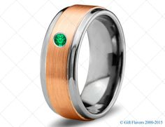 Tungsten Wedding Band,9mm,Mens Wedding Bands,Rose Gold,Green Emerald Band,Mans,Mens,Carbide,Male,Diamond RIng,Men,His,Hers,Set,Size,Him