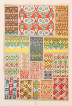 Racinet Egyptian Decorative Ornament 1880s Original Antique PRINT2 | eBay