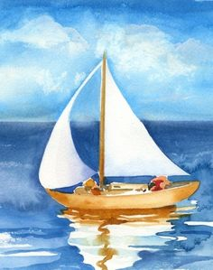 sailboat sugar for tri sigma Sailboat Art, Sailboat Painting, Nautical Art, Sailboats, Watercolor Landscape, Watercolour Painting, Watercolors, Coastal Art, Beach Art