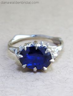 "Unique Engagement Ring inspired by nature with oval blue sapphire in platinum - ""Starla"" by Dana Walden Bridal, NYC"