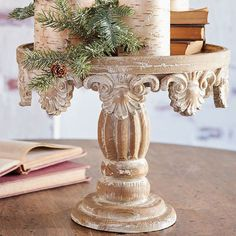 Our Distressed Wooden Pedestal will look great in your home for Christmas, but can also work year round. This unique pedestal is distressed for a charming look. Farmhouse Style Decorating, French Country Decorating, Farmhouse Decor, Handmade Home Decor, Diy Home Decor, Seasonal Decor, Fall Decor, Flower Decorations, Christmas Decorations