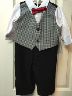 Boys Suit 3/6 Months Infant  Black White Check Jumpsuit Outfit Wedding Easter  | eBay