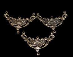Set of 3 vintage brass filigree victorian style by themetalworx, $2.00