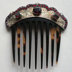 Beautiful 19th Century Bohemian Garnet tortoise shell hair comb.