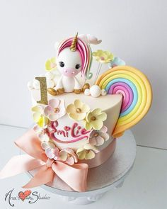 Unicorn cake Rainbow cake birthday cake Thematic cakes fro different occassions: baby showers, b Baby Girl Birthday Cake, Unique Birthday Cakes, Baby Girl Cakes, Novelty Birthday Cakes, First Birthday Cakes, Birthday Cupcakes, Unicorn Birthday, Little Pony Cake, Cute Cakes