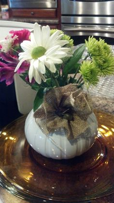 Bridal shower center piece with homemade burlap flower