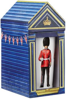 Part guard and part tourist attraction, these upstanding  gentlemen add color, dignity and historical drama to  Buckingham Palace, the Tower of London and your coffee and  tea times. Tall enough to allow for the Foot Guard's  bearskin hat, each mug holds  12 3/4 oz. of your favorite warm brew. Fine china, from the  esteemed pottery of James Sadler, founded in 1882 in  Staffordshire, England. Dishwasher and microwave safe.  Guardhouse gift box.