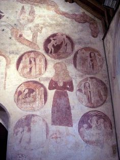 Good man surrounded by the Seven Corporal Works of Mercy. West wall, Trotton, Sussex. c. Trish Steel/Geograph.