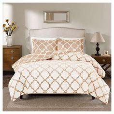 Alston Reversible Plush Comforter Set (Full/Queen) Tan - 3pc