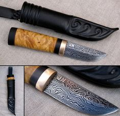metsastyspuukko XI by Jarkko Niskanen Knife with pattern welded blade. Handle is made from birchwood and ebony wood. Fitting is bronze, sheath is made from leather.