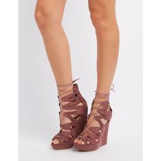 Charlotte Russe Caged Lace-Up Wedge Sandals ($30) ❤ liked on Polyvore featuring shoes, sandals, rose taupe, open toe sandals, cut out wedge sandals, lace up sandals, bow sandals and wedge sandals
