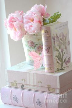 Dreamy Shabby Chic Pink Peonies And Books - Romantic Cottage Peonies Floral Art With Pink Books Print By Kathy Fornal