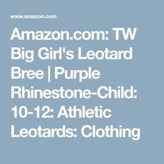 Amazon.com: TW Big Girl's Leotard Bree   Purple Rhinestone-Child: 10-12: Athletic Leotards: Clothing