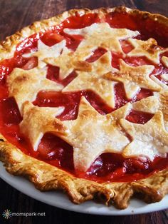 July 4th Dessert: Red Hot Cinnamon Apple Pie with Vanilla Ice Cream=RED HOTS!  Genius!!