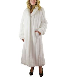 Look what I found on #zulily! White Faux Fur Full-Length Coat #zulilyfinds