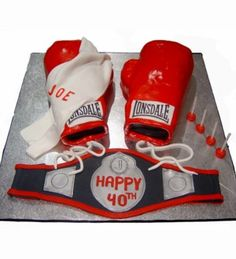 Boxing Gloves And Belt Cake With Bulldogs