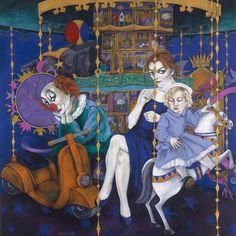 'Merry-go-round' Acryl on canvas, 130x130 cm by Fransje Tacx