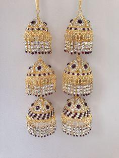 Amazing Indian Asian Wedding Bridal Kaleera Kalira - Dark Purple  Gold