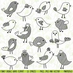 Cute Doodle Birds Clipart and