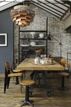 Industrial kitchen #copper #wood #metal