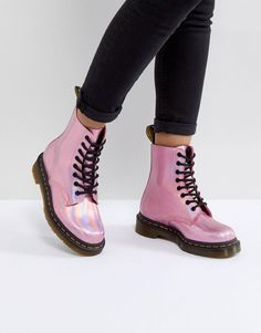 Dr Martens pink holographic boots