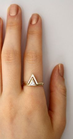 Triangle Ring with Pave CZ V ring ~ Triangle Swarovski Engagement Ring ~ Double Ring ~ 14K Gold Filled Thing Ring ~ Mother's Day Gift