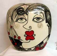 Square  Ceramic Clay Vase Pillow Shaped Picasso Style Lovers Faces Motif Black, White & Red Hand painted on Etsy by artistsloftppaquin1 on Etsy