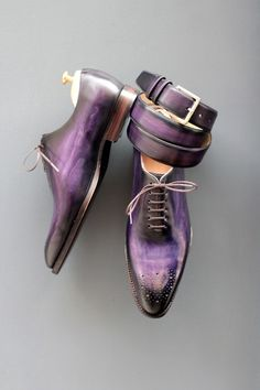 Purple oil slick belt and shoes Heeren Shoes