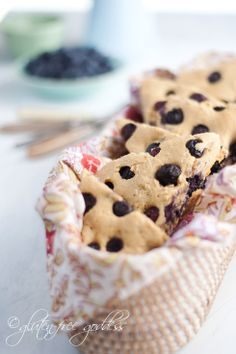 Gluten Free Goddess at her finest... Can't wait to make these. GF all the way, yo.  Gluten-Free Blueberry Scones with Whole Grains