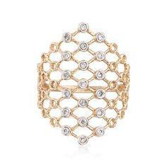 Precise 14kt gold openwork rises near to the knuckle, flickering with .15 ct. t.w. bezel-set diamonds in this lattice-inspired design. 14kt yellow gold ring. Free shipping & easy 30-day returns. Fabulous jewelry. Great prices. Since 1952.