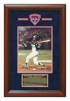 Atlanta Braves Autographs / Hank Aaron Autographed Atlanta Braves 11x14 Photo Custom Framed PSA DNA Certificate Hologram #HankAaron #HammerinHank #AtlantaBraves #HomeRunKing #ManCaveDecor #HallofFameMemorabilia
