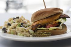 Blackened Catfish Sandwich  lettuce. tomato, and creole aioli served with Ditalini Salad