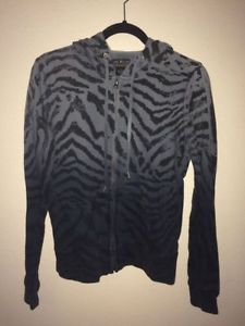 Lucky Brand Jeans Zebra Zip Ombré Hoodie Gray Black Stripes S Animal Print Long  | eBay