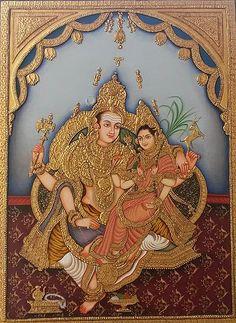 Hindu God Vishnu Goddess Laxmi Miniature Painting India Painting by A K Mundra Mysore Painting, Kalamkari Painting, India Painting, Tanjore Painting, Mural Painting, Indian Traditional Paintings, Indian Art Paintings, Outline Drawings, Hindu Art