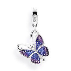 Animal Charm, Schmetterling aus Silber mit Brandlack & Karabiner.