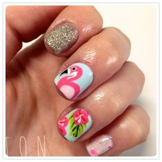 Flamingo/Tropical Nails Source by lwstanford nails Beach Nail Designs, Cool Nail Designs, Art Designs, Design Ideas, Cute Nails, Pretty Nails, 3d Nails, August Nails, Flamingo Nails