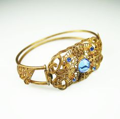 Art Deco Bracelet Sapphire Blue Crystal Gilt by zephyrvintage,