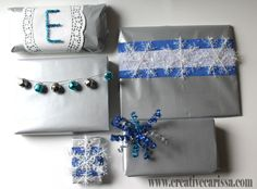 Silver and Blue gift wrap tutorial using dollar store materials - pretty!