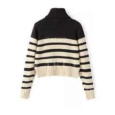 Turtleneck Long Sleeve Striped Jumper (350 ARS) ❤ liked on Polyvore featuring tops, sweaters, turtle neck sweater, long sleeve tops, stripe sweaters, long sleeve jumper and polo neck sweater