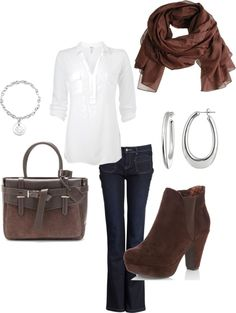 """Casual Dinner in White and Brown"" by djgauh ❤ liked on Polyvore"